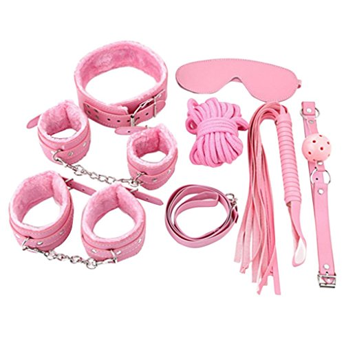 Hometom 7PCS/Set Adult Handcuffs Fantasy Toys Cosplay Bandage Fetish Restraint SM Use (Pink)