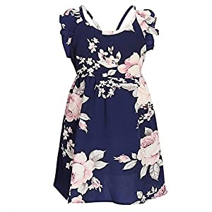 PopReal Mommy and Me Floral Print V-Neck Cold Shoulder Ruffle Backless Matching Outfits
