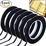GoProver 6 pack 3mm 1/8 inch Width Graphic Tape Whiteboard Tape Self adhesive Chart Line Tape Grid Marking Tapes Gridding Tape Art Artist Tape, 108 feet feet long Per Roll