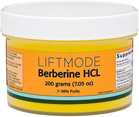 LiftMode Beberine HCL Extract Powder Supplement – Promotes Heart Health, Metabolism Reduces Inflammation Vegetarian, Vegan, Non-GMO, Gluten Free – 200 Grams 400 Servings