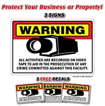 SECURITY CAMERA SIGNS ~Sign~ 3 Signs & 3 Free Decals burglar video warning