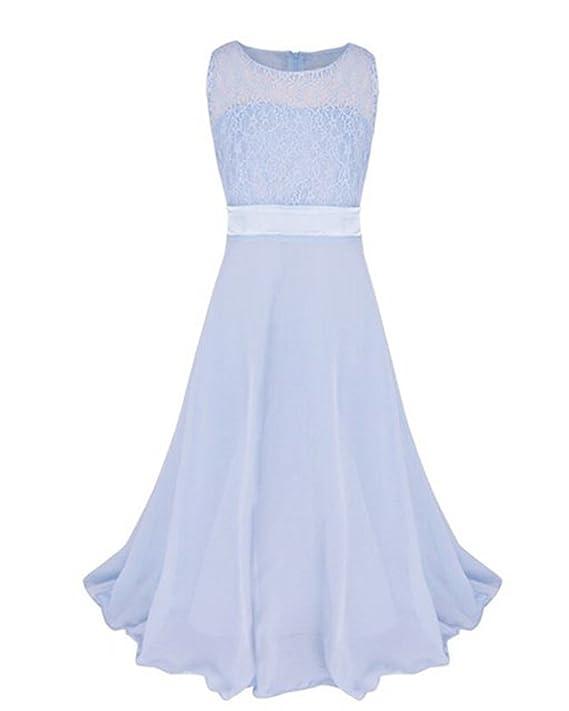 Girls Lace Junior Flower Princess Dress Wedding Party Prom Bridesmaid Chiffon Dresses: Amazon.co.uk: Clothing