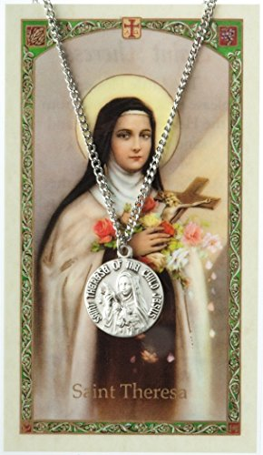 (Pewter Saint St Therese Little Flower Medal with Laminated Holy Card, 3/4 Inch)
