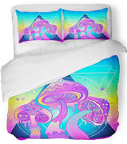 Emvency 3 Piece Duvet Cover Set Breathable Brushed Microfiber Fabric Magic Mushrooms Over Sacred Geometry Psychedelic Hallucination Vibrant 60S Bedding Set with 2 Pillow Covers King Size