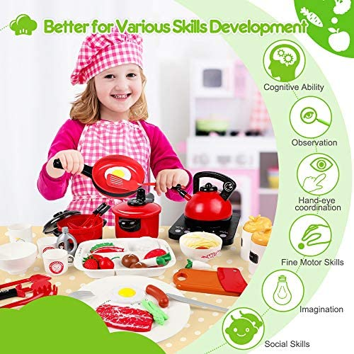 OCATO 51Pcs Kitchen Toys Kids Kitchen Playsets Play Kitchen Set for Kids Girls B