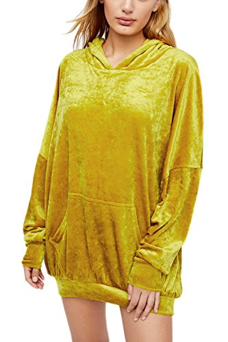 Sevozimda Women BF Style Casual Hooded Solid Tunic Velour Sweatershirt Pullover Yellow One Size ()