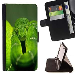 BullDog Case - FOR/Sony Xperia Z2 D6502 / - / snake green nature rainforest reptile tail /- Monedero de cuero de la PU Llevar cubierta de la caja con el ID Credit Card Slots Flip funda de cuer