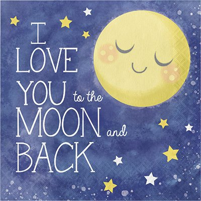To The Moon And Back Theme Plates and Napkins Serves 16 With Birthday Candles by JJ Party Supplies (Image #2)