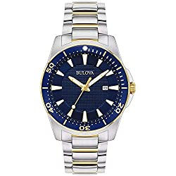 Bulova Mens Classic Two Tone Blue Dial Stainless Steel Watch 98B329