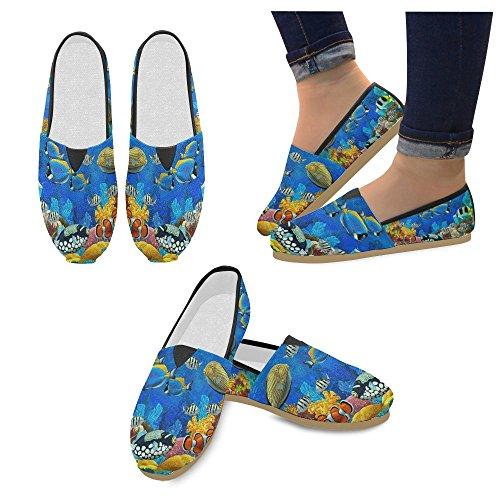 D-story Mode Sneakers Lägenheter Kvinna Klassisk Slip-on Canvas Skor Loafers Havsfisk