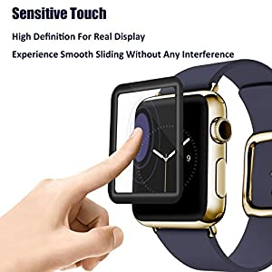 Apple Watch Screen Protector 42mm, iWatch Tempered Glass Screen Protector, Anti-Scratch, Scratch Resistant, 3D Full Screen Coverage for Apple Watch 42mm Series 3/2/1 [1 Pack, Black] from MAGIC MOTO