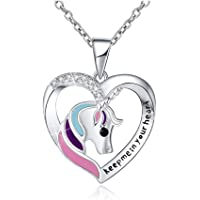 Collar de Unicornio Plata 925 forma de corazón