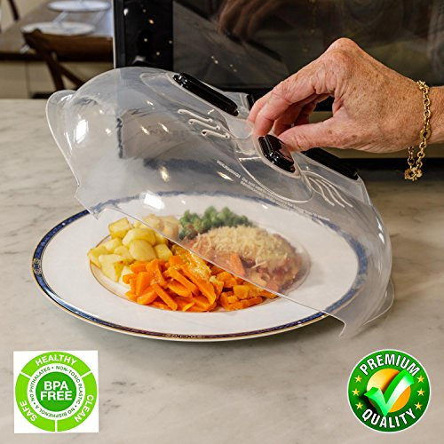 Magnetic Microwave Splatter Lid Hover Cover - Plate Cover with Steam Vents & Strong Magnets | Safe BPA Free | Anti Splatter Splash Guard over food keeps microwave clean | Large Plastic 11.8 inch Lid (Vent Hood Cleaning)