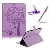 Flip Case for Samsung Galaxy Tab A 9.7 SM-T550,Smart Leather Cover for Samsung Galaxy Tab A 9.7 SM-T550,Herzzer Retro Pretty Tree Butterfly Cat Design Wallet Folio Case Full Body PU Leather Protective Stand Cover with Inner Soft Silicone Shell for Samsung Galaxy Tab A 9.7 SM-T550 + 1 x Free Black Cellphone Kickstand + 1 x Free Black Stylus Pen