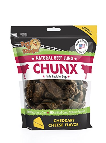 Pet 'N Shape - Made In Usa - Chunx Beef Lung All Natural Dog Treats, Cheese Flavor, 1-Pound Bag, 1 Pack ()