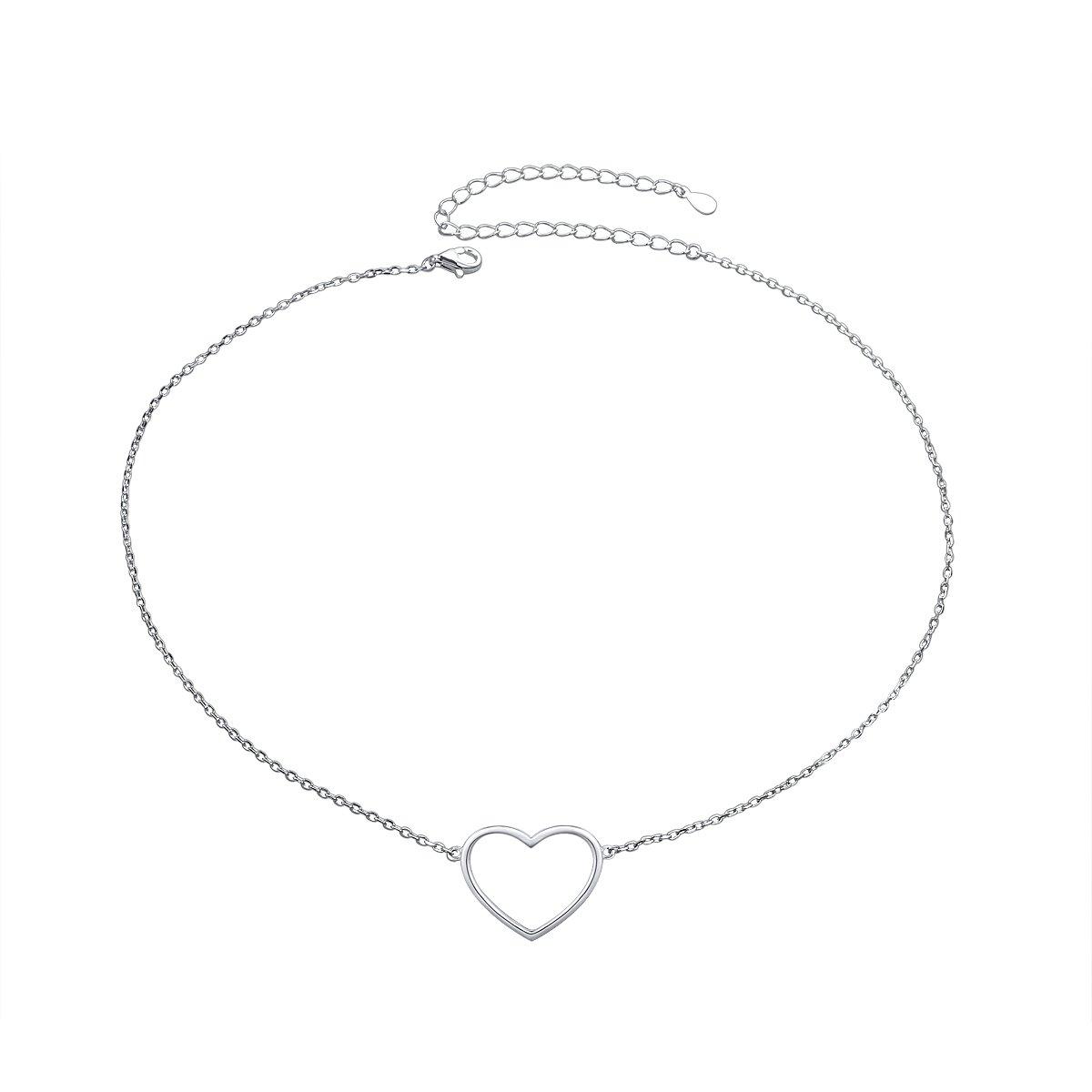 SILVER MOUNTAIN S925 Sterling Silver Choker Minimalist Dainty Statement Heart Pendant Necklace for Women Girl Lady