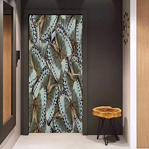 Door Sticker Exotic Butterflies Jungle Queen Animal Spiritual Wings Nature Moth Transform Print Glass Film for Home Office W36 x H79 Almond Green ()