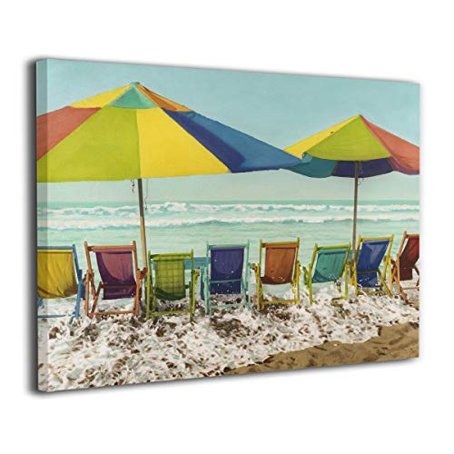 """Patricia Caroline Beach Chairs Beach Umbrellas Ocean Waves Wall Art Painting Pictures Print On Canvas Art The Picture for Home Modern Decoration16 X 20"""""""