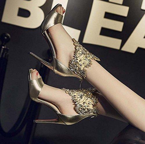 Oro mujer de alto Nuevo boca imitación cuero de diamantes de de sandalias de de zapatos SHINIK pez tacón con cremallera de Verano Correas Zapatos de q4wIOSPE