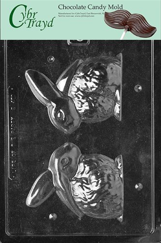 Cybrtrayd Life of the Party E460 3D Bunny Easter Chocolate Candy Mold in Sealed Protective Poly Bag Imprinted with Copyrighted Cybrtrayd Molding Instructions -