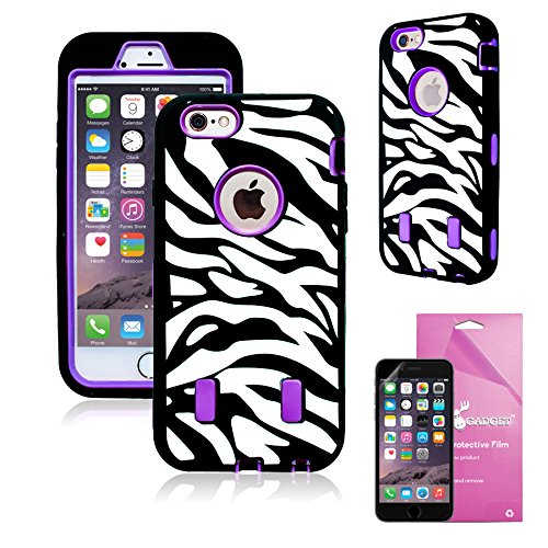Epic Gadget(TM) 3-Piece Hybrid High Impact Case Silicone for iPhone 6 Plus 5.5 + 1 x HD iPhone 6 Plus Screen Protector (US Seller!!) (Black Purple Zebra Pattern)