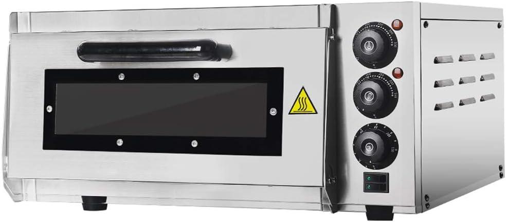 GZZT Horno para pizza eléctrico hornos 400 x 400 mm profesional 2000 W, 350 °C Horno eléctrico de acero inoxidable con piedra refractaria Back ...