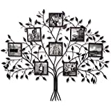 "Adeco Family Tree Black Metal Wall Hanging Decorative Collage Picture Photo Frame, 8 Openings, 4x4"" Each"