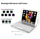 Dansure Ultra-Slim Keyboard Case for iPad Pro 9.7 / iPad Air 2 Bluetooth Keyboard with 7 Colors LED Backlit, Silver