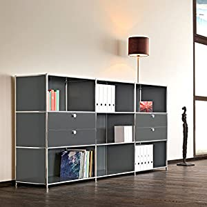 SYSTEM4 Office Credenza, Sideboard Or TV Media Center With 2 Double Drawers  And 6 Open Shelves, Choose From 10 Colors! (ANTHRACITE)