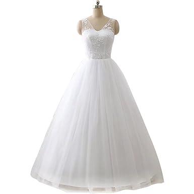 ZJHJ Simple Appliques Bridal Dresses Long Wedding Gown Plus Size Prom Dresses Ivory Size 2