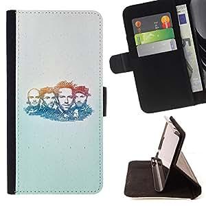BullDog Case - FOR/Sony Xperia m55w Z3 Compact Mini / - / band music portrait man faces people drawing /- Monedero de cuero de la PU Llevar cubierta de la caja con el ID Credit Card Slots Flip funda de cuer