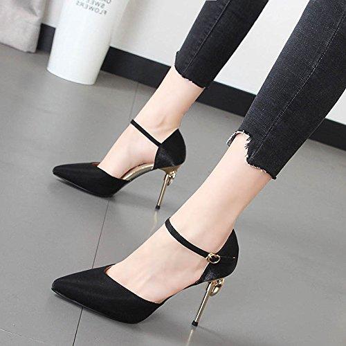 Xue Qiqi Zapatos de mujer dulce cuadrícula punta del alto talón zapatos ligeros y perforación de agua, decorado en un estilo minimalista sandalias Negro