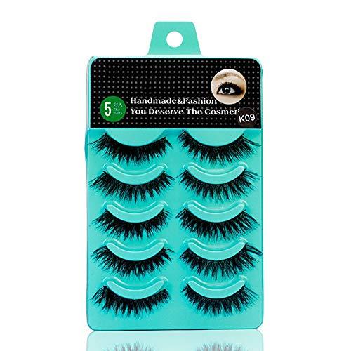 Scala 5 Pairs Dedila New Women Ladies Natural Short False Eyelashes Makeup Handmade Thick Black Fake Cross Eye Lashes Tools (K09) (Best Short Fake Eyelashes)