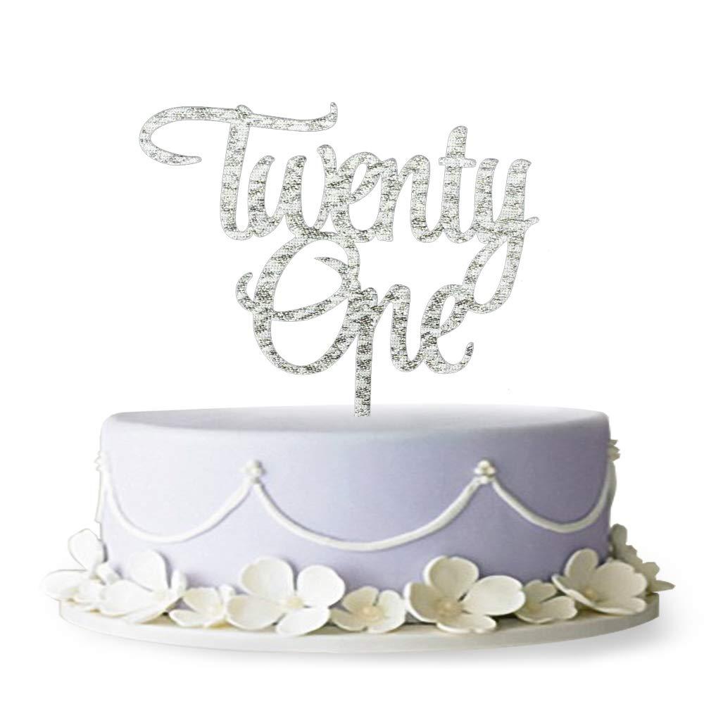 Amazon Twenty One Acrylic Cake Topper 21st Birthday Anniversary Party Decoration Supplies Silver Kitchen Dining