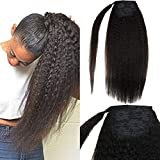 LaaVoo 18inch Clip in Ponytail Extension Wrap Around Pony Tail Human Hair Brazilian Kinky Straight with Short Hair Piece Fixed on with Clip Thick Natual Black Hair For Black Women 80g/Pack #KS