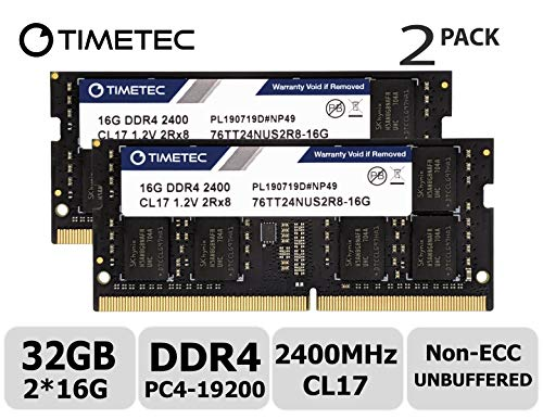 Timetec Hynix IC 32GB KIT (2x16GB) DDR4 2400MHz PC4-19200 Non ECC Unbuffered 1.2V CL17 2Rx8 Dual Rank 260 Pin SODIMM Laptop Notebook Computer Memory Ram Module Upgrade (32GB KIT (2x16GB))