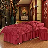 ALHBNAY Beauty Bed Set, Solid Color Quilted Bed Linen Sheet 4 Piece Massage Table Sheet Sets for Beauty Salons Massage Bed Skirt Bedspreads-red Wine 80x190cm(31x75inch)