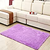 Hughapy® Home Decorator Modern Shag Area Rugs Super Soft Solid Living Room Carpet Bedroom Rug and Carpets,80 * 120cm(Purple)