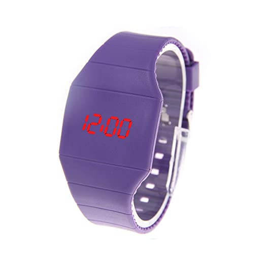 Reloj De Pulsera para Mujer Reloj Ultrafino Y Táctil Digital Reloj para Mujer Fahion Simple Y Creativo Purple: Amazon.es: Relojes