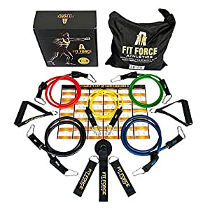 Fit Force Athletics BEST RESISTANCE BANDS Exercise Equipment Workout Set (15 Pcs) - Home Gym Exercise Bands For Travel, Rehab, Crossfit, Pilates, Physical Therapy - Comes With A BEAUTIFUL GIFT BOX