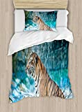 Ambesonne Tiger Duvet Cover Set Twin Size, Feline Beast in Pond Searching for Prey Sumatra Indonesia Scenes, Decorative 2 Piece Bedding Set with 1 Pillow Sham, Turquoise Light Brown Black