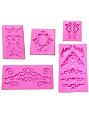 Colybecation 5pcs Baroque Style Curlicues Scroll Lace Fondant Silicone Mold for Cake Border Decorations, Cupcake Topper, Jewelry, Polymer Clay