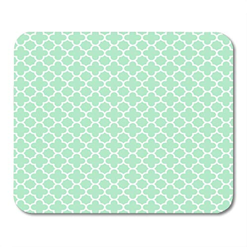 Semtomn Gaming Mouse Pad Green Wedding for Light Mint Quatrefoil Pattern 300 Baner 9.5