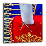 3dRose Alexis Photography - Objects - Red busby hat with white plume against the blue pelisse - 10x10 Wall Clock (dpp_273240_1)