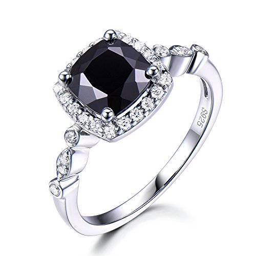 6.5mm Cushion Cut Black Spinel Engagement Ring 925 Sterling Silver CZ Diamond Halo White Gold Plated Ring by Milejewel Spinel Engagement Ring