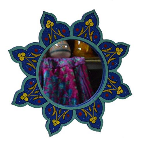 Moroccan Decoration Mirror Wood Colorful Painted Wall Bathroom Dresser Handmade Blue 14 -