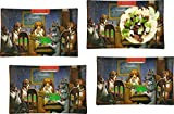 Dogs Playing Poker by C.M.Coolidge Set of 4 Glass Rectangular Lunch/Dinner Plate