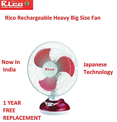 Rico Rechargeable battery table fan 12 inches Japanese Technology swing for bedroom study big size...
