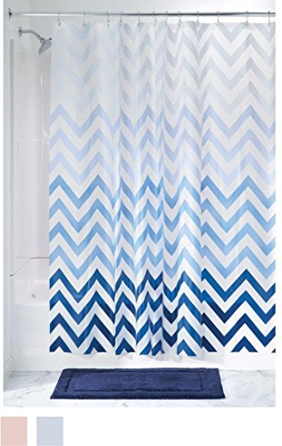 "InterDesign 37380 Ombre Chevron PVC-Free 4.8 Gauge Peva Shower Curtain - 72"" X 72"" -  - shower-curtains, bathroom-linens, bathroom - 51PDExWFkWL -"