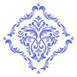 "wall painting ideas Damask Stencil - (size 14""w x 14""h) Reusable Wall Stencils for Painting - Best Quality Allover Wallpaper ideas - Use on Walls, Floors, Fabrics, Glass, Wood, Terracotta, and More……"